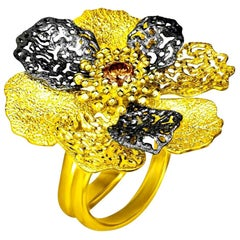 Alex Soldier Diamond 18 Karat Gold Textured Flower of Life and Hope Ring