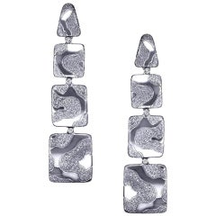 Alex Soldier Diamond Drop Textured White Gold Earrings One of a Kind