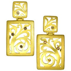 Alex Soldier Diamond Gold Contrast Texture Drop Earrings One of a Kind