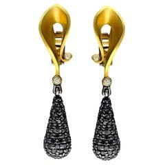 Alex Soldier Diamond Gold Drop Dangle Earrings One of a Kind