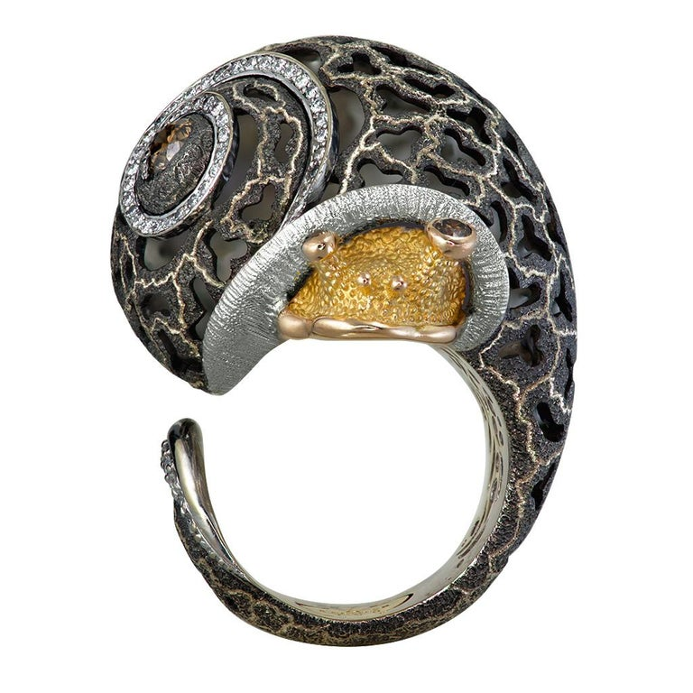 Contemporary Alex Soldier Diamond Gold Hand-Textured Codi the Snail Ring One of a Kind