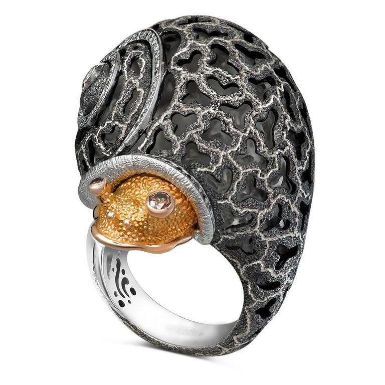 Round Cut Alex Soldier Diamond Gold Hand-Textured Codi the Snail Ring One of a Kind
