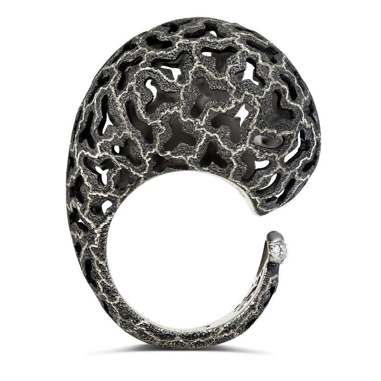 Alex Soldier Diamond Gold Hand-Textured Codi the Snail Ring One of a Kind 1