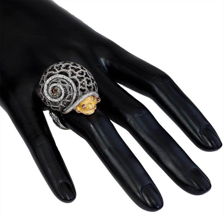 Alex Soldier Diamond Gold Hand-Textured Codi the Snail Ring One of a Kind 2
