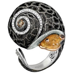 Alex Soldier Diamond Gold Hand-Textured Codi the Snail Ring One of a Kind