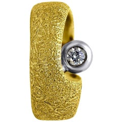 Alex Soldier Diamond Gold Modern Art Textured Ring One of a Kind