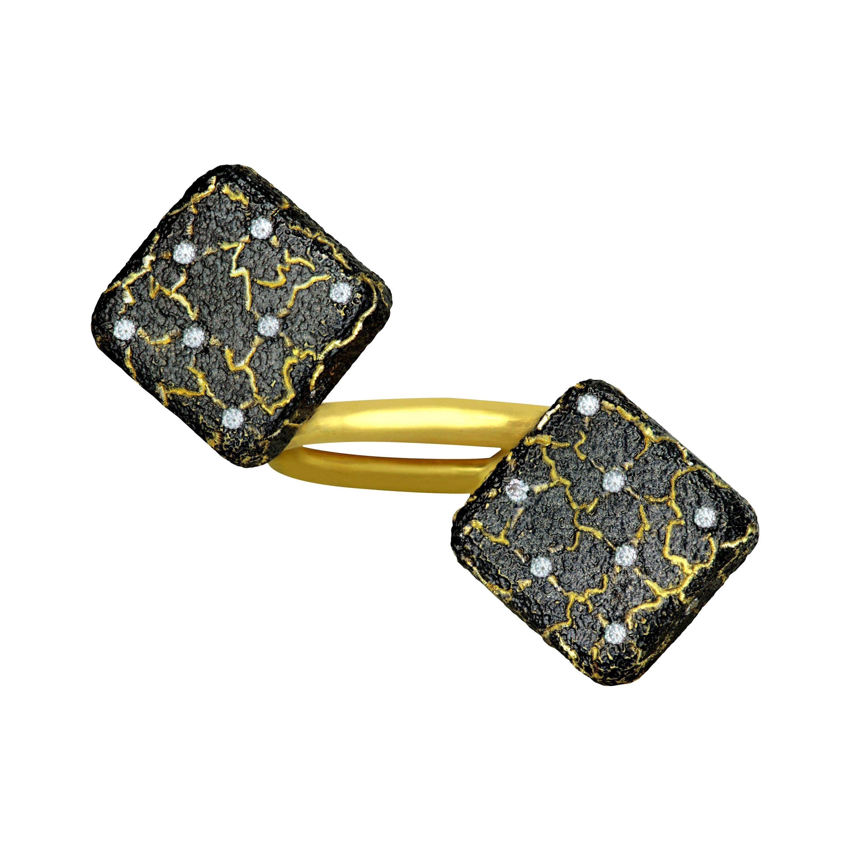 Alex Soldier Diamond Gold Mushroom Lava Textured Ring One of a Kind
