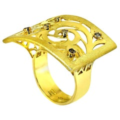 Alex Soldier Diamond Gold Ornament Contrast Texture Ring One of a Kind