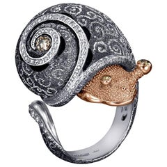 Alex Soldier Diamond Gold Sterling Silver Codi the Snail Ring