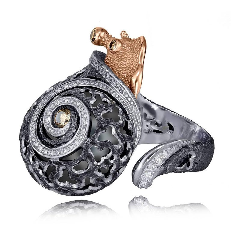 Women's or Men's Alex Soldier Diamond Gold Sterling Silver Textured Signature Codi the Snail Ring For Sale