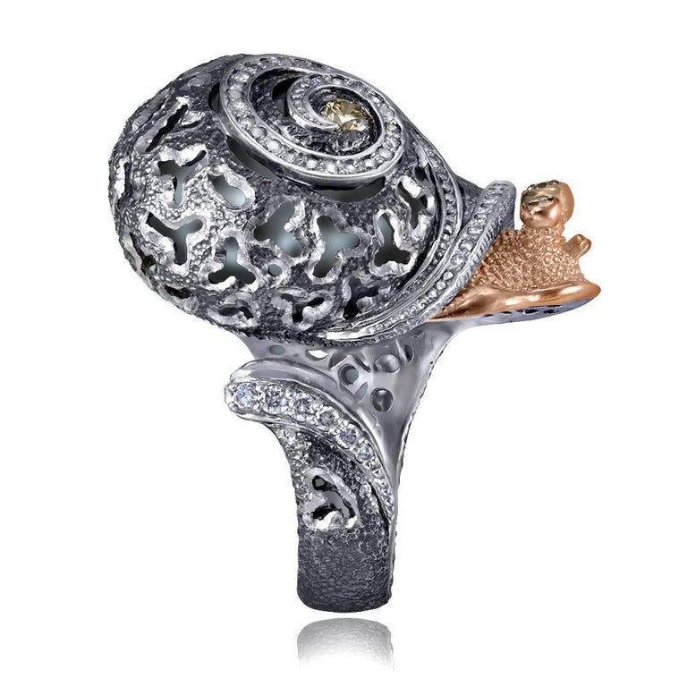Alex Soldier Diamond Gold Sterling Silver Textured Signature Codi the Snail Ring For Sale 2