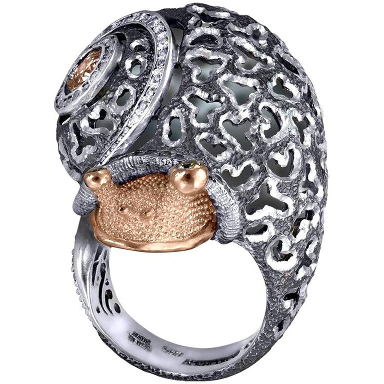 Alex Soldier Diamond Gold Sterling Silver Textured Signature Codi the Snail Ring For Sale