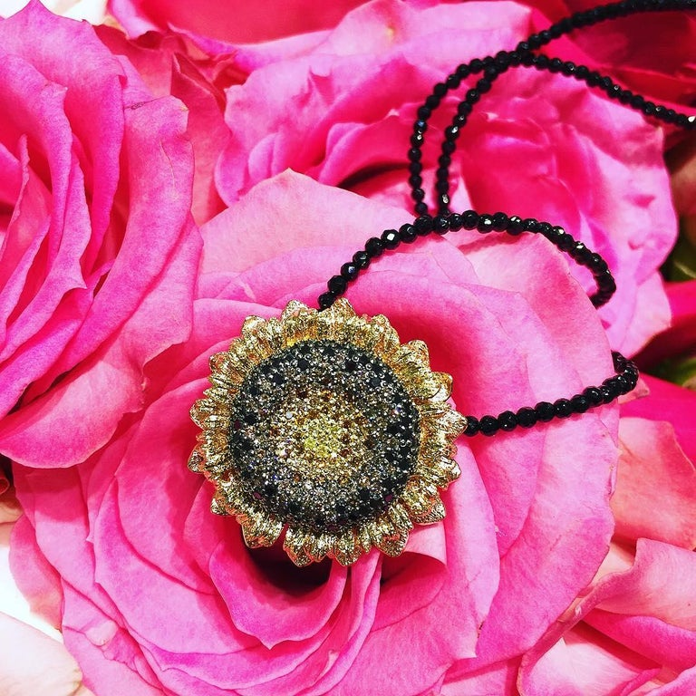 Round Cut Alex Soldier Diamond Gold Sunflower Pendant Brooch on Spinel Strand For Sale