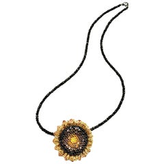 Alex Soldier Diamond Gold Sunflower Pendant Brooch on Spinel Strand