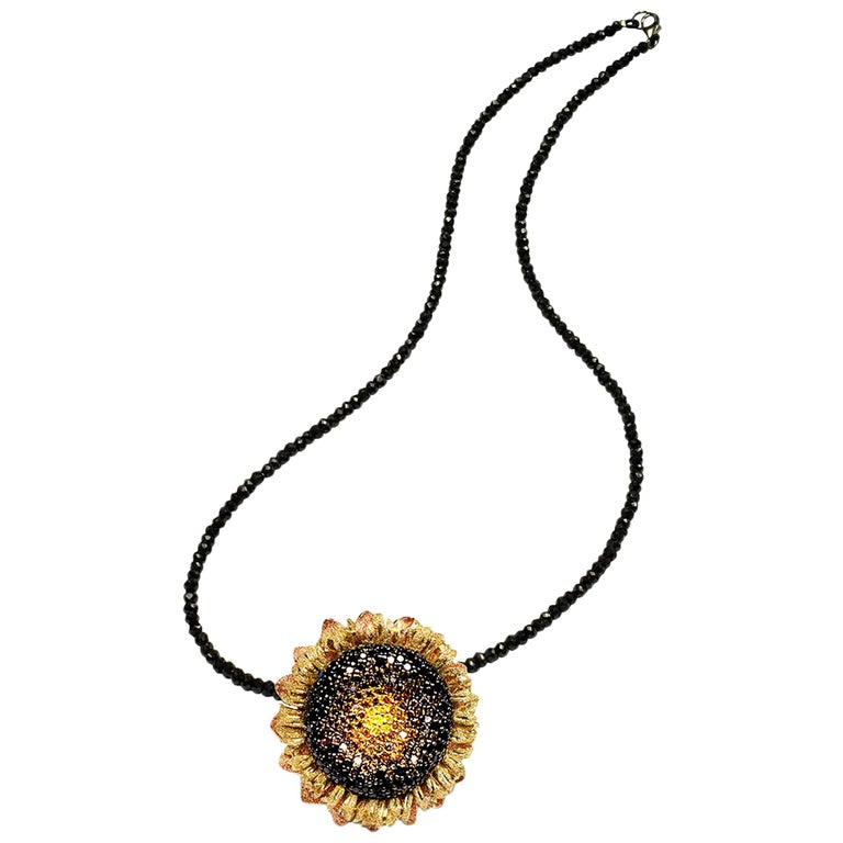 Alex Soldier Diamond Gold Sunflower Pendant Brooch on Spinel Strand For Sale