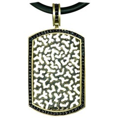 Alex Soldier Diamond Gold Tag Pendant Necklace on Chain One of a Kind