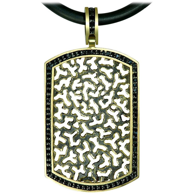 Alex Soldier Diamond Gold Tag Pendant Necklace on Cord One of a Kind For Sale