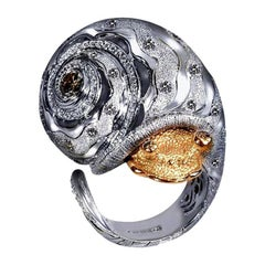 Alex Soldier Diamond Gold Textured Codi the Sail Ring One of a Kind