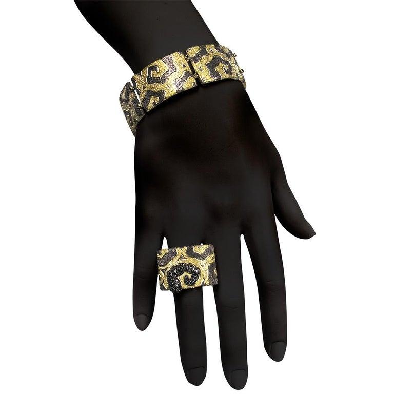 Women's or Men's Alex Soldier Diamond Gold Textured Cora Link Bracelet One of a Kind For Sale