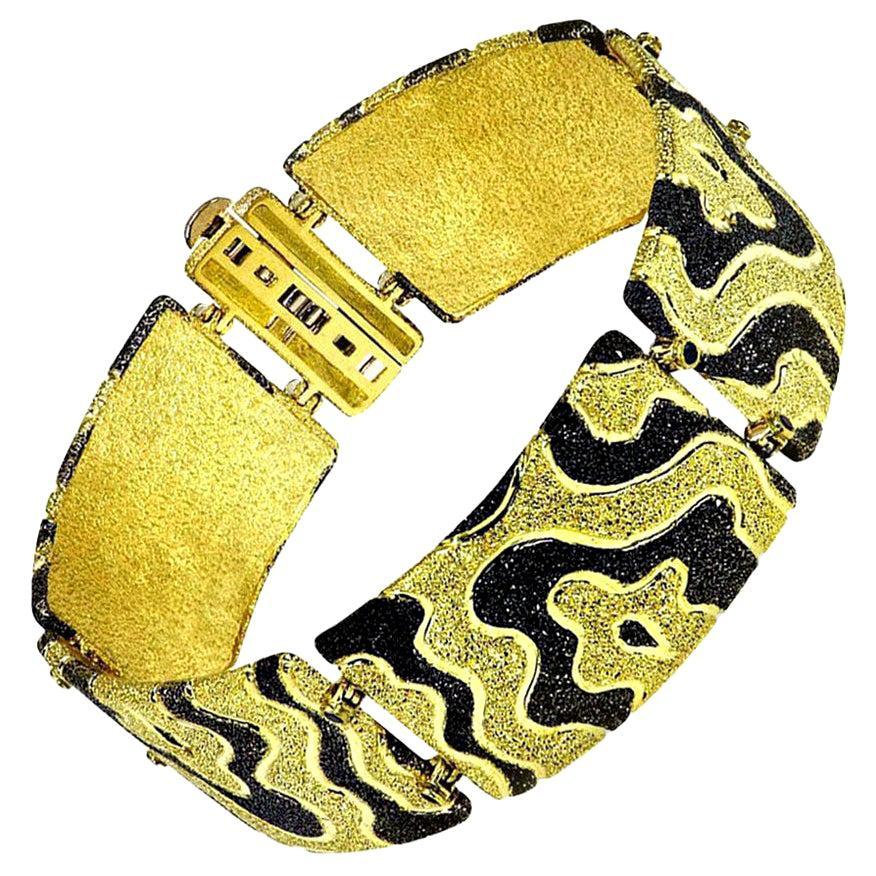 Alex Soldier Diamond Gold Textured Cora Link Bracelet One of a Kind
