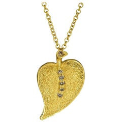 Alex Soldier Diamond Gold Textured Leaf Pendant Necklace on Chain One of a Kind