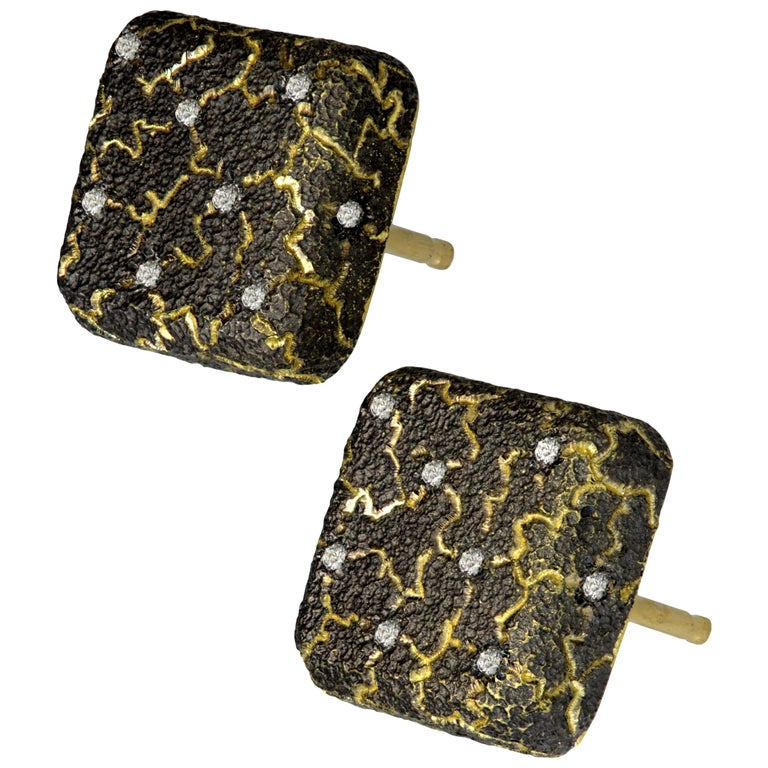 Alex Soldier Diamond Gold Textured Stud Earrings Cufflinks One of a Kind For Sale