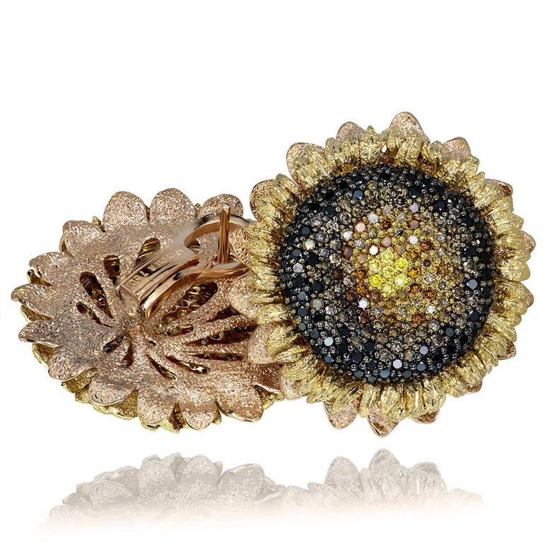 Alex Soldier Sunflower Earrings make a powerful style statement as an ultimate expression of art and sensuality. They delight the senses and present a complex integration of meaning, design and superb craftsmanship that is truly wearable art. The