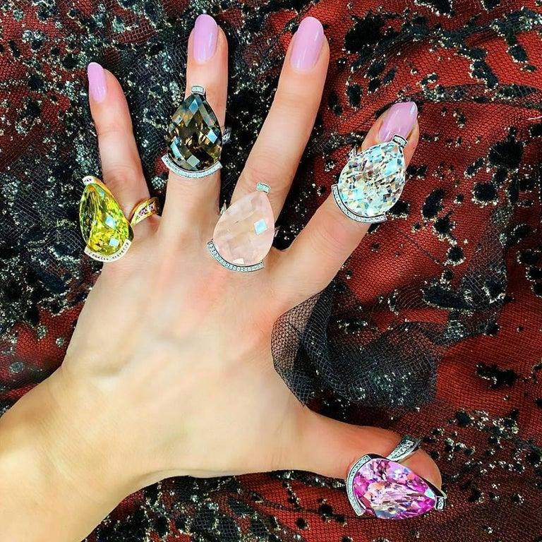 Alex Soldier Diamond Quartz Gold Textured Swan Ring as Seen on Elizabeth Hurley For Sale 2