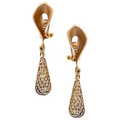 Alex Soldier Diamond Rose Gold Drop Dangle Earrings One of a Kind