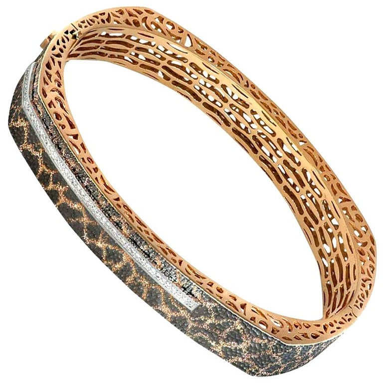 Alex Soldier Diamond Rose Gold Hand-Textured Hinged Bracelet One of a Kind For Sale