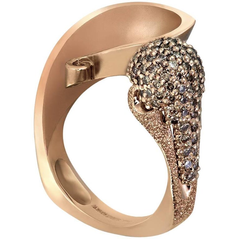 Round Cut Alex Soldier Diamond Rose Gold Textured Crossover Bypass Ring One of a Kind For Sale