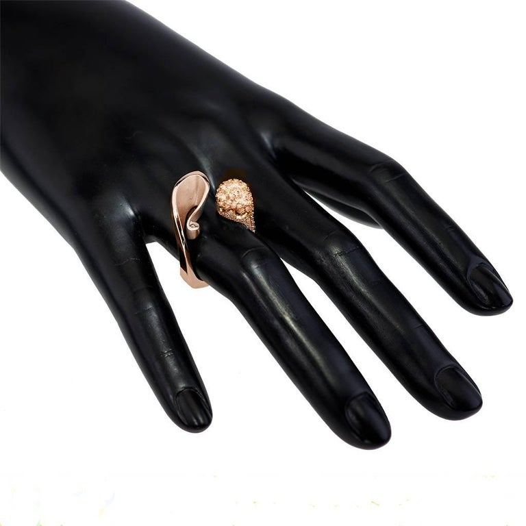 Alex Soldier Diamond Rose Gold Textured Crossover Bypass Ring One of a Kind For Sale 2