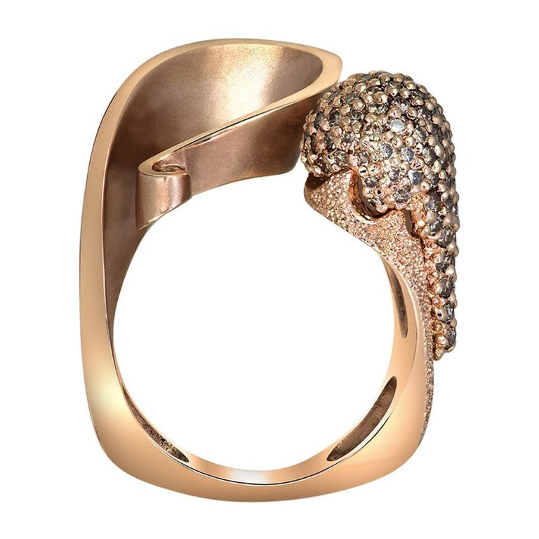 Alex Soldier Diamond Rose Gold Textured Crossover Bypass Ring One of a Kind For Sale
