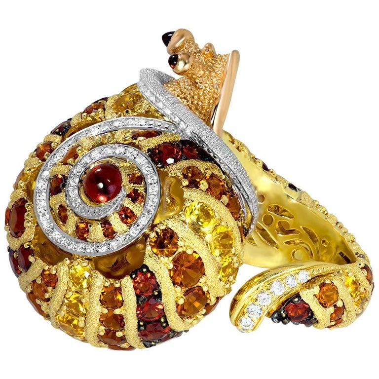 Contemporary Alex Soldier Diamond Sapphire Ruby Garnet Citrine Sunny the Snail Ring For Sale
