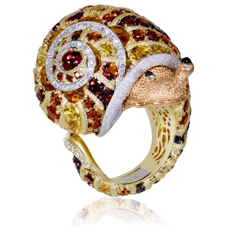 Round Cut Alex Soldier Diamond Sapphire Ruby Garnet Citrine Sunny the Snail Ring For Sale