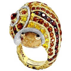 Alex Soldier Diamond Sapphire Ruby Garnet Citrine Sunny the Snail Ring