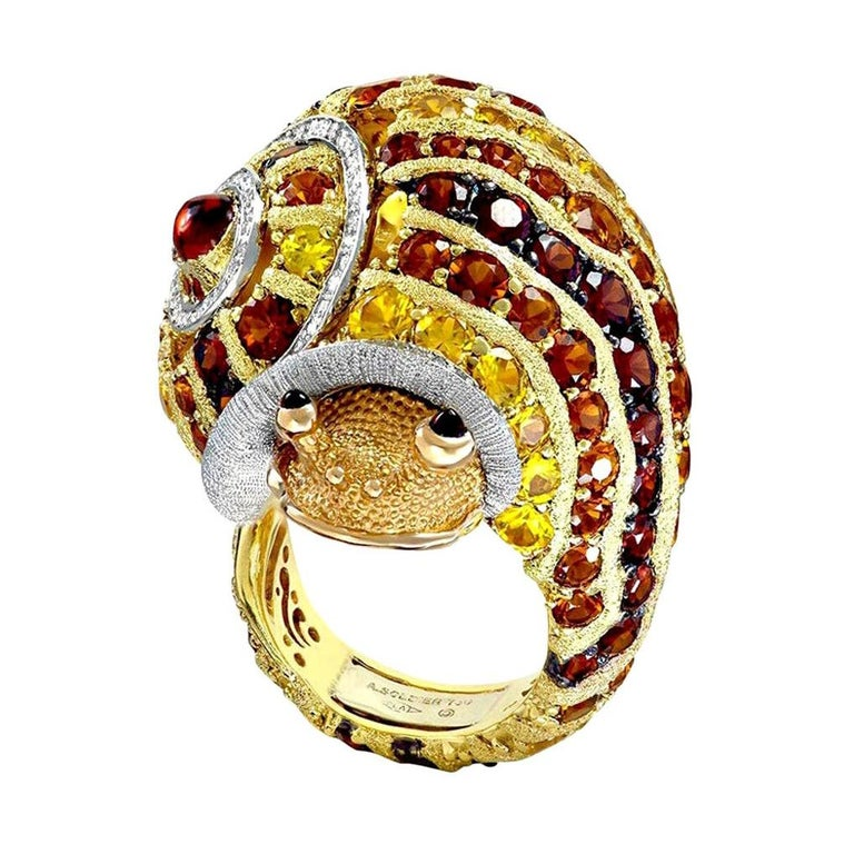 Alex Soldier Diamond Sapphire Ruby Garnet Citrine Sunny the Snail Ring For Sale