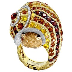 Alex Soldier Diamond Sapphire Ruby Garnet Citrine Sunny the Snail Ring