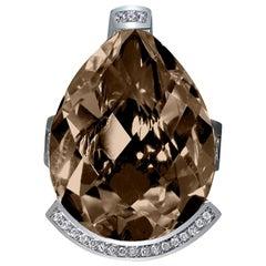 Alex Soldier Diamond Smoky Quartz White Gold Textured Swan Ring