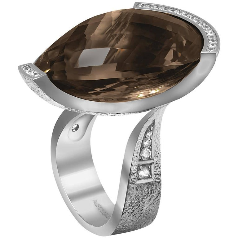 Contemporary Alex Soldier Diamond Smoky Quartz White Gold Textured Swan Ring One of a Kind
