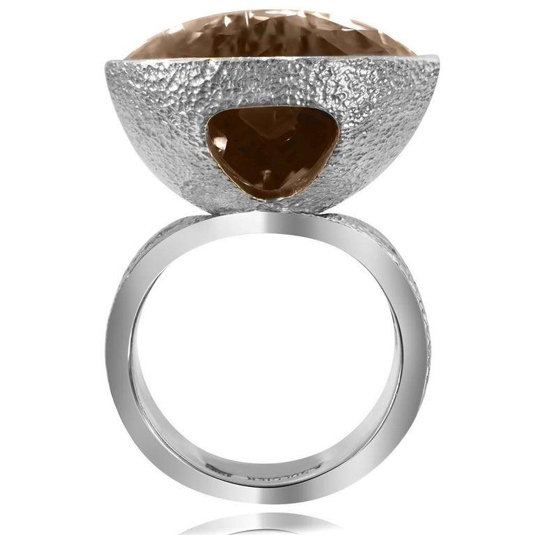 Women's or Men's Alex Soldier Diamond Smoky Quartz White Gold Textured Swan Ring One of a Kind