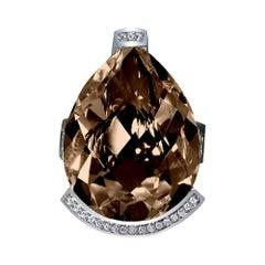 Alex Soldier Diamond Smoky Quartz White Gold Textured Swan Ring One of a Kind