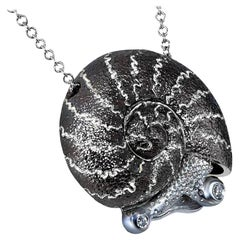 Alex Soldier Diamond Sterling Silver Little Snail Pendant Necklace on Chain