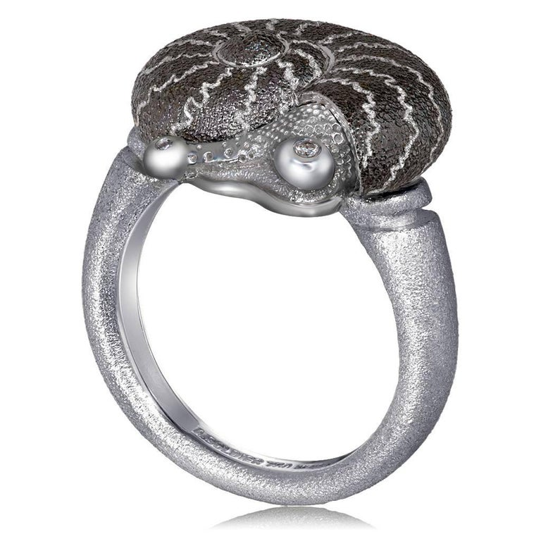 Round Cut Alex Soldier Diamond Sterling Silver Little Snail Ring