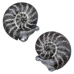Alex Soldier Diamond Sterling Silver Little Snail Stud Earrings Cufflinks