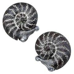 Alex Soldier Diamond Sterling Silver Little Snail Stud Earrings Cufflinks