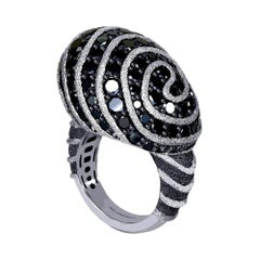 Alex Soldier Diamond Textured Blackened Gold Swirl Art Ring One of a Kind