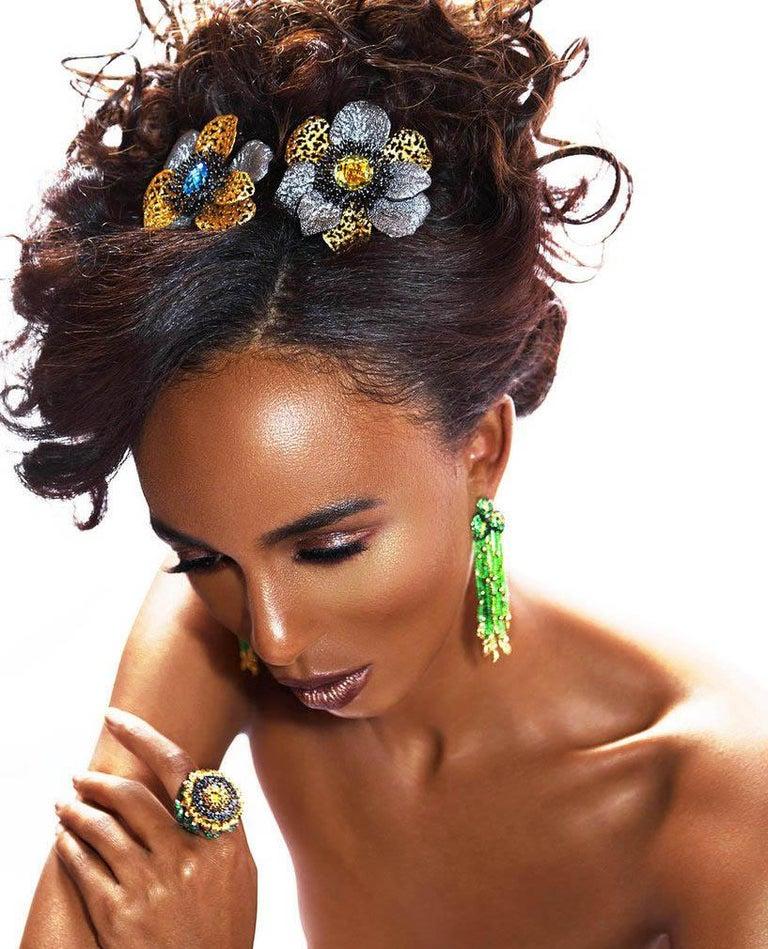 Alex Soldier Diamond Tsavorite Garnet Chrome Diopside Gold Sunflower Ring For Sale 5
