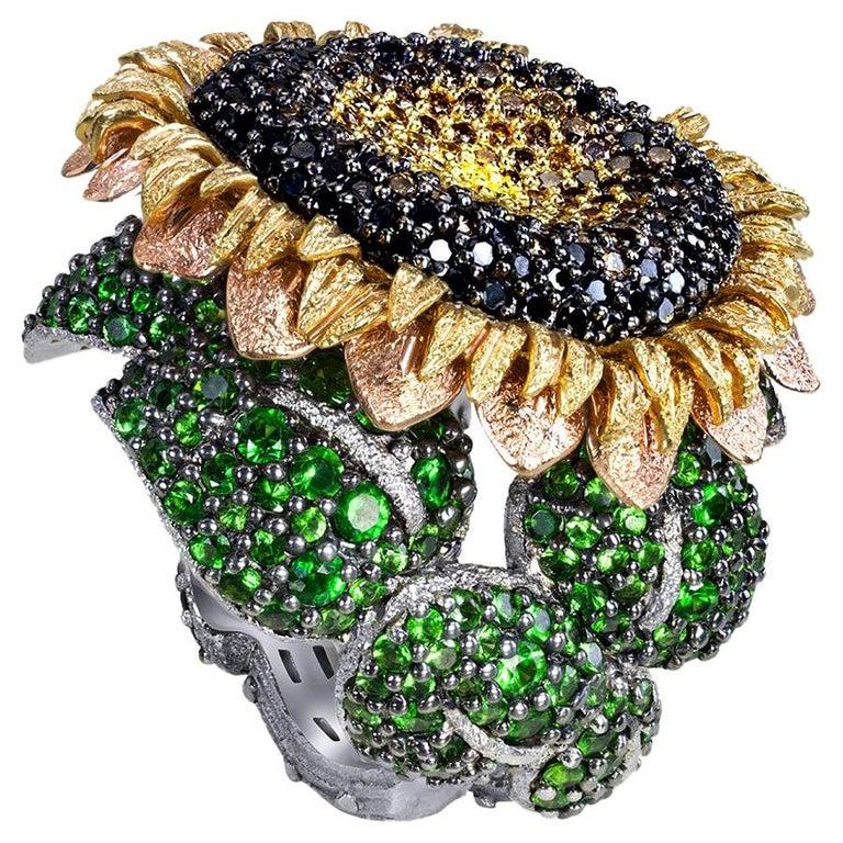 Round Cut Alex Soldier Diamond Tsavorite Garnet Chrome Diopside Gold Sunflower Ring For Sale