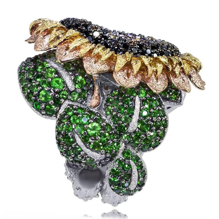 Alex Soldier Diamond Tsavorite Garnet Chrome Diopside Gold Sunflower Ring For Sale 1